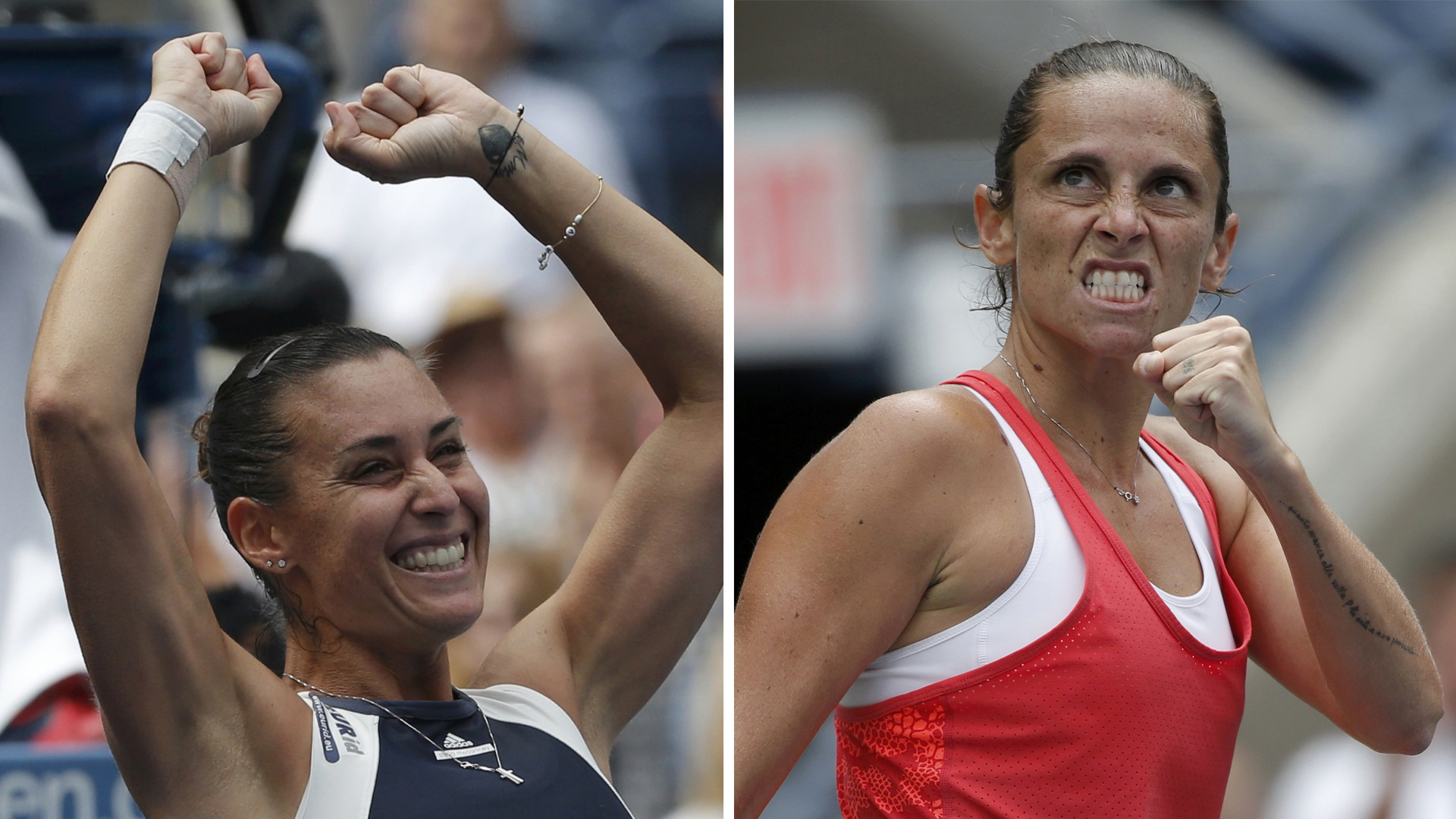 Flavia Pennetta of Italy reacts after defeating Simona Halep of Romania in their women's singles semi-final match at the U.S. Open Championships tennis tournament in New York, September 11, 2015.  REUTERS/Mike Segar